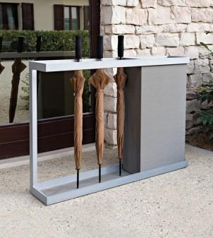 Porte parapluie design avec corbeille à papier en métal peint