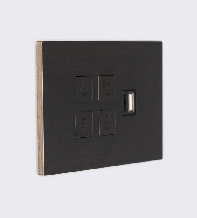 Plaques avec boutons poussoirs et port USB