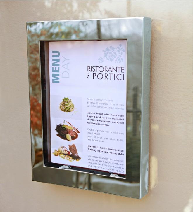 Porte-menu avec fermeture de sécurité éclairage pour extérieur