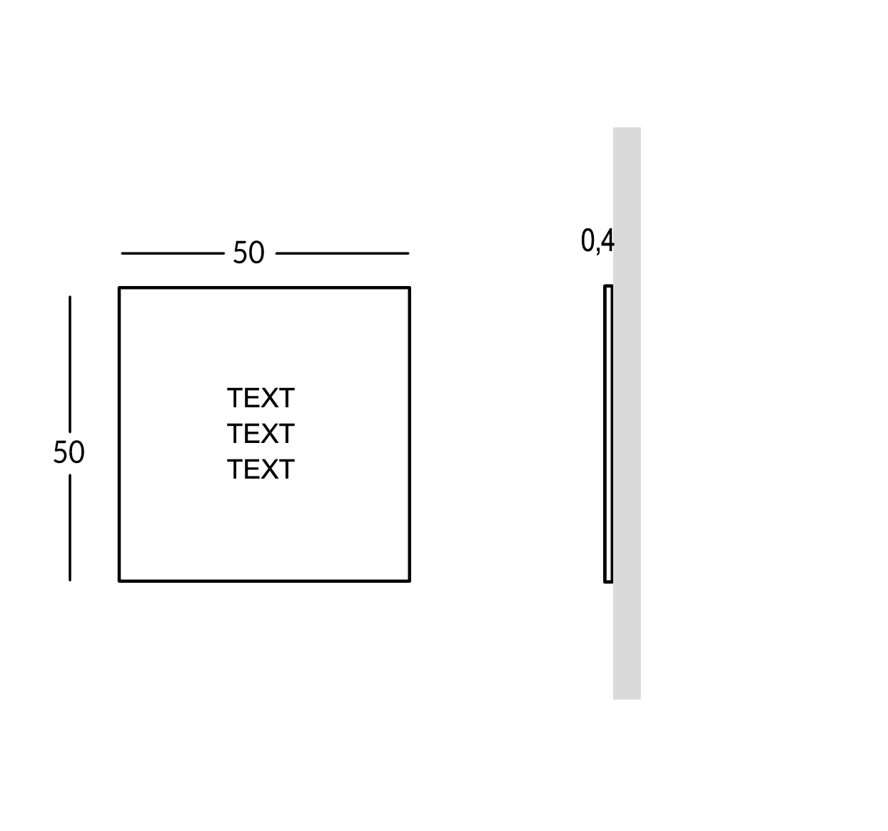 Plaque pour extérieur avec caractères perforés et remplis. Version moyenne
