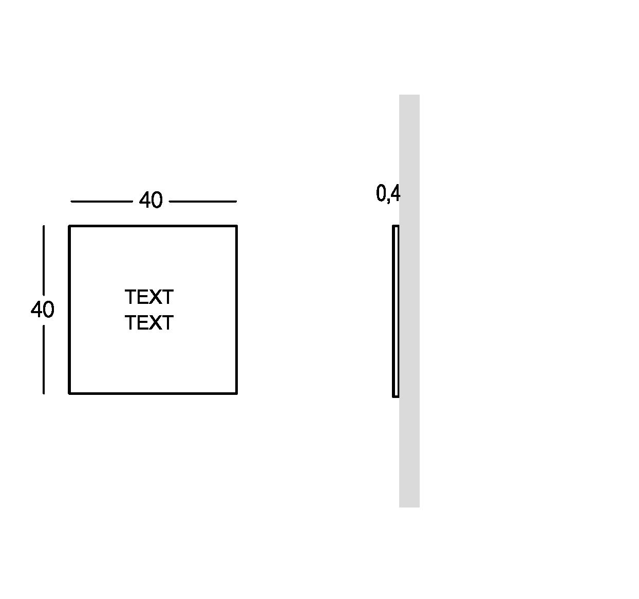 Plaque pour extérieur avec caractères perforés et remplis. Petit modèle