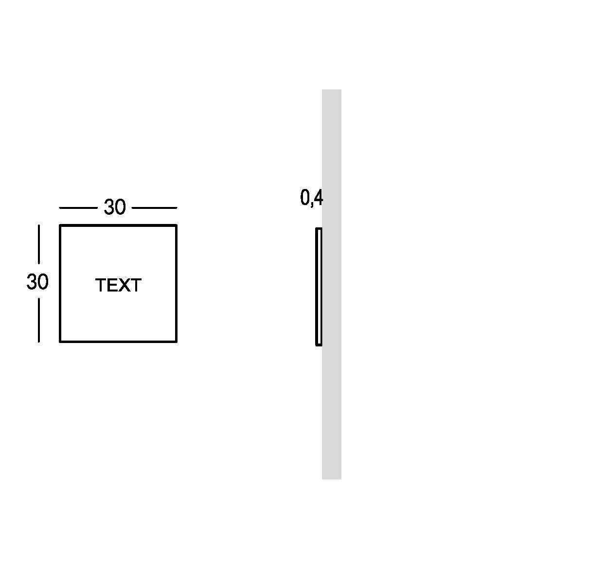 Plaque pour extérieur avec caractères perforés et remplis. XS modèle