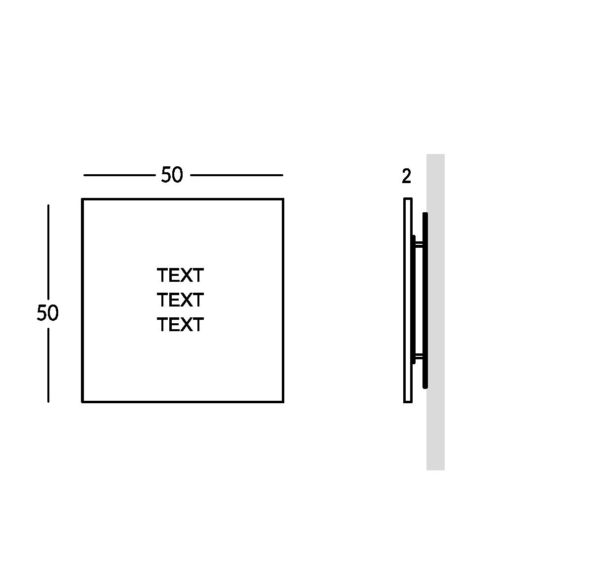 Plaque en plexiglas peint avec caractères gravés. Version moyenne.