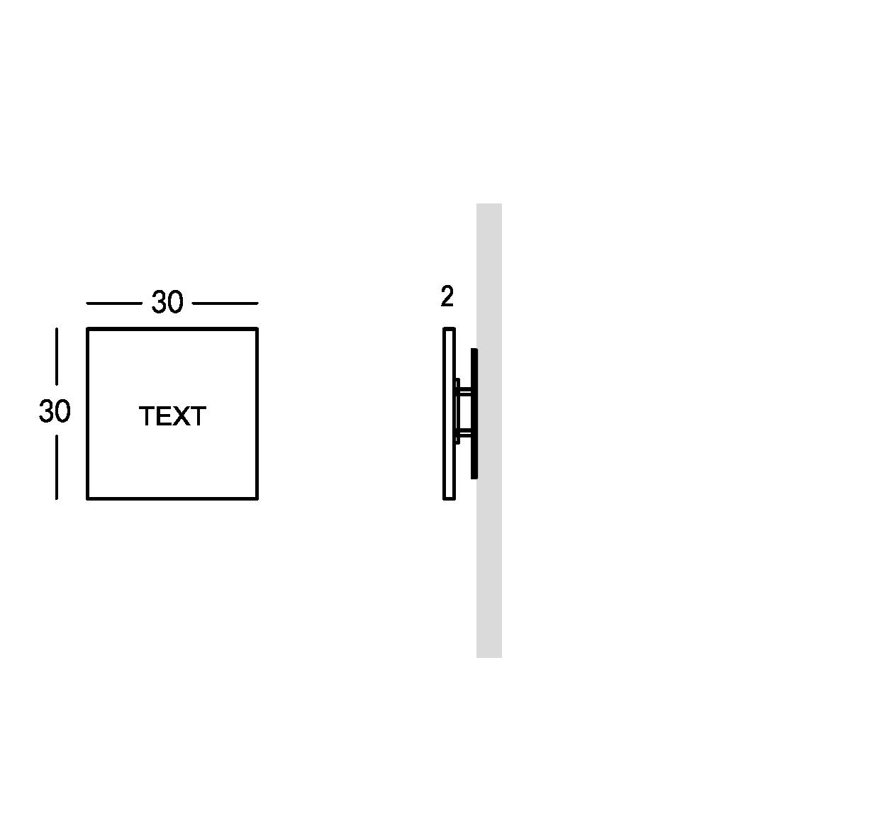 Plaque en plexiglas peint avec caractères gravés. XS modèle